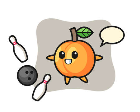 Character cartoon of apricot is playing bowling, cute style design for t shirt, sticker, logo element Stock fotó - 157232877