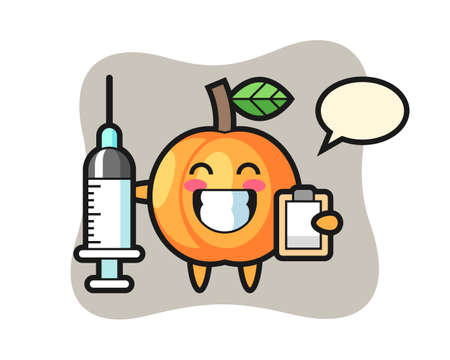 Mascot illustration of apricot as a doctor, cute style design for t shirt, sticker, logo element