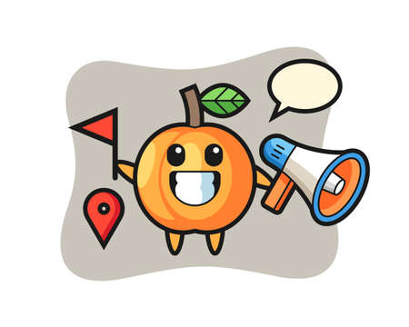 Character cartoon of apricot as a tour guide, cute style design for t shirt, sticker, logo element