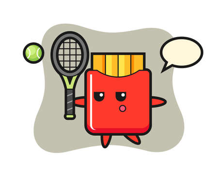 Cartoon character of french fries as a tennis player, cute style design for t shirt, sticker, logo element