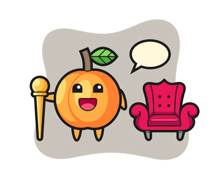 Mascot cartoon of apricot as a king, cute style design for t shirt, sticker, logo element