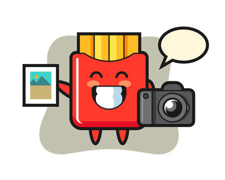 Character illustration of french fries as a photographer, cute style design for t shirt, sticker, logo element