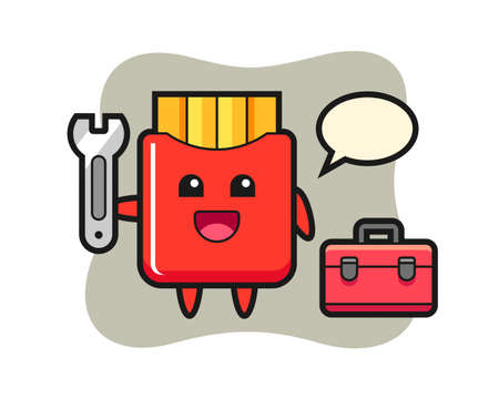 Mascot cartoon of french fries as a mechanic, cute style design for t shirt, sticker, logo element 向量圖像
