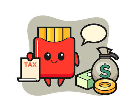 Character cartoon of french fries as a accountant, cute style design for t shirt, sticker, logo element