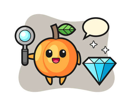 Illustration of apricot character with a diamond, cute style design for t shirt, sticker, logo element Illusztráció