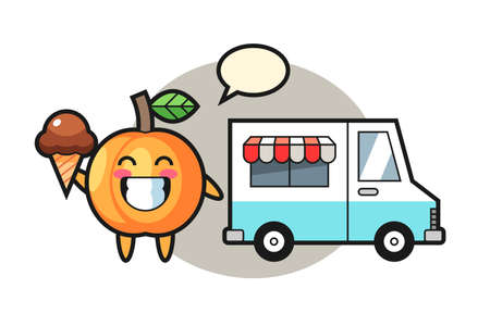 Mascot cartoon of apricot with ice cream truck, cute style design for t shirt, sticker, logo element