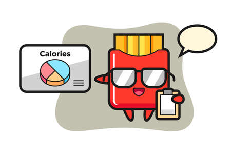 Illustration of french fries mascot as a dietitian, cute style design for t shirt, sticker, logo element