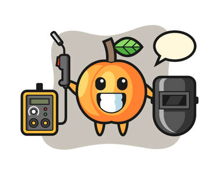 Character mascot of apricot as a welder, cute style design for t shirt, sticker, logo element