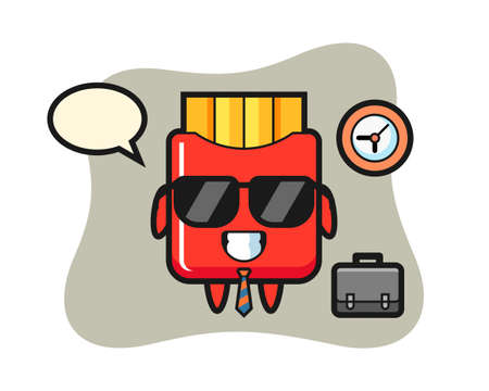 Cartoon mascot of french fries as a businessman, cute style design for t shirt, sticker, logo element 向量圖像
