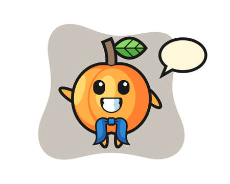 Character mascot of apricot as a sailor man, cute style design for t shirt, sticker, logo element