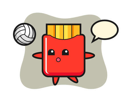 Character cartoon of french fries is playing volleyball, cute style design for t shirt, sticker, logo element