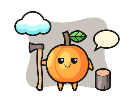 Character cartoon of apricot as a woodcutter, cute style design for t shirt, sticker, logo element Illustration