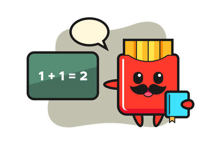 Illustration of french fries character as a teacher, cute style design for t shirt, sticker, logo element