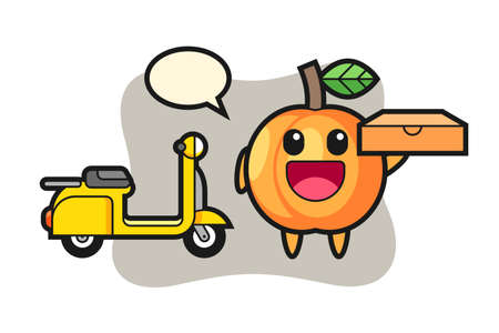 Character illustration of apricot as a pizza deliveryman, cute style design for t shirt, sticker, logo element