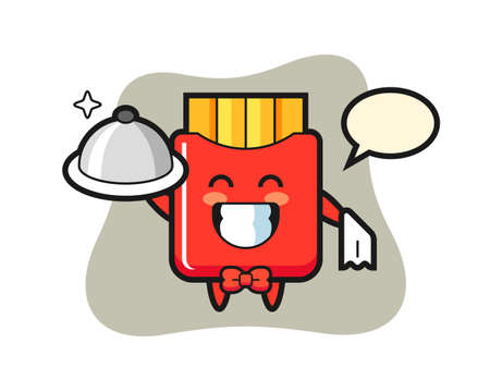 Character mascot of french fries as a waiters, cute style design for t shirt, sticker, logo element
