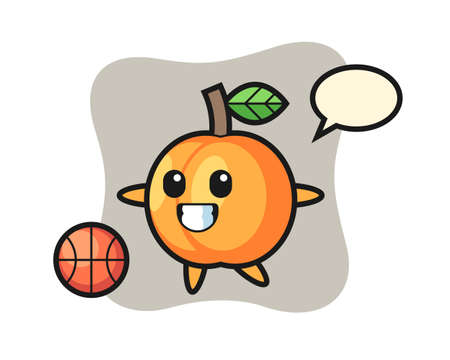 Illustration of apricot cartoon is playing basketball, cute style design for t shirt, sticker, logo element