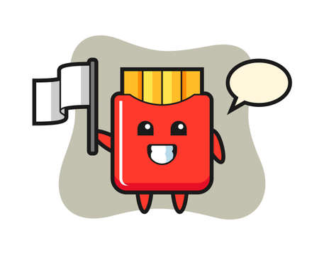 Cartoon character of french fries holding a flag, cute style design for t shirt, sticker, logo element