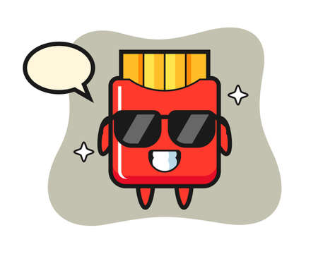 Cartoon mascot of french fries with cool gesture, cute style design for t shirt, sticker, logo element