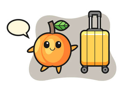 Apricot cartoon illustration with luggage on vacation, cute style design for t shirt, sticker, logo element