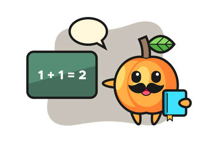 Illustration of apricot character as a teacher, cute style design for t shirt, sticker, logo element 向量圖像