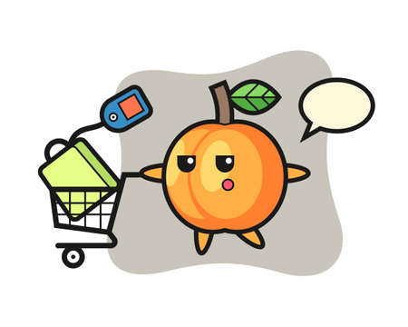 Apricot illustration cartoon with a shopping cart, cute style design for t shirt, sticker, logo element