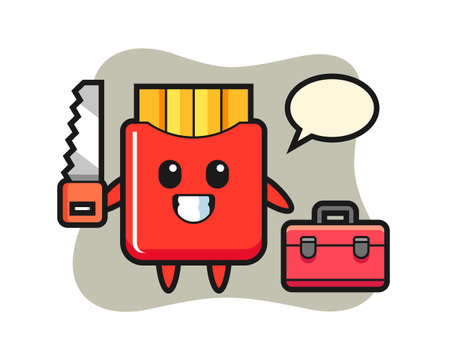 Illustration of french fries character as a woodworker, cute style design for t shirt, sticker, logo element 向量圖像