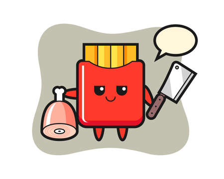 Illustration of french fries character as a butcher, cute style design for t shirt, sticker, logo element