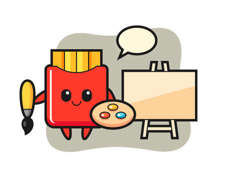 Illustration of french fries mascot as a painter, cute style design for t shirt, sticker, logo element