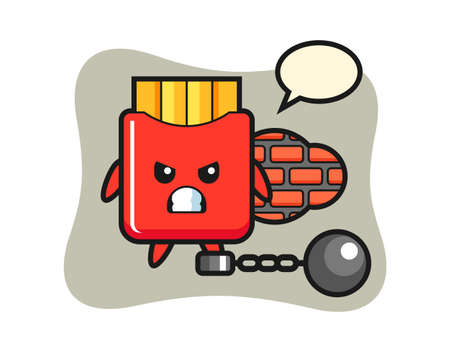 Character mascot of french fries as a prisoner, cute style design for t shirt, sticker, logo element
