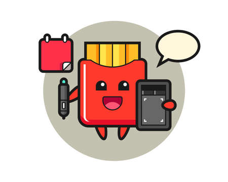 Illustration of french fries mascot as a graphic designer, cute style design for t shirt, sticker, logo element