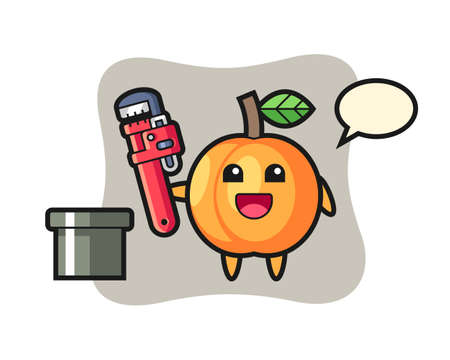 Character illustration of apricot as a plumber, cute style design for t shirt, sticker, logo element
