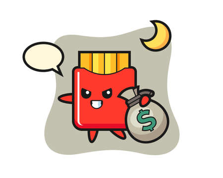 Illustration of french fries cartoon is stolen the money, cute style design for t shirt, sticker, logo element