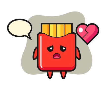 French fries cartoon illustration is broken heart, cute style design for t shirt, sticker, logo element