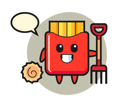 Mascot character of french fries as a farmer, cute style design for t shirt, sticker, logo element