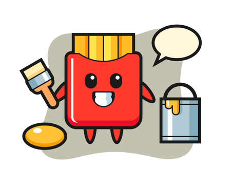 Character illustration of french fries as a painter, cute style design for t shirt, sticker, logo element
