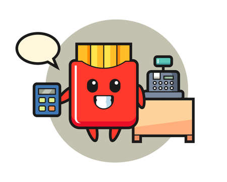 Illustration of french fries character as a cashier, cute style design for t shirt, sticker, logo element 向量圖像
