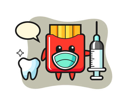 Mascot character of french fries as a dentist, cute style design for t shirt, sticker, logo element