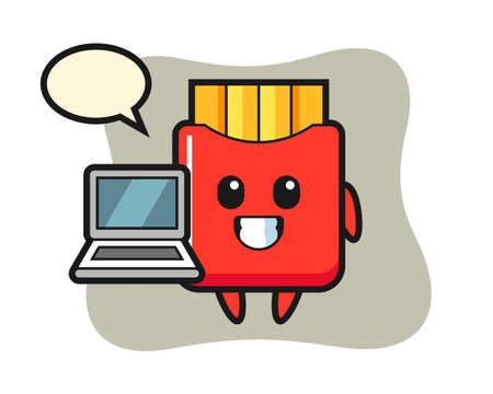 Mascot illustration of french fries with a laptop, cute style design for t shirt, sticker, logo element 向量圖像