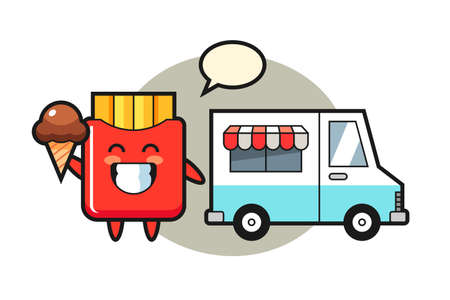 Mascot cartoon of french fries with ice cream truck, cute style design for t shirt, sticker, logo element