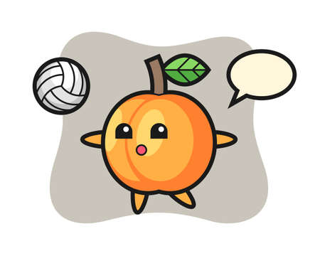 Character cartoon of apricot is playing volleyball, cute style design for t shirt, sticker, logo element