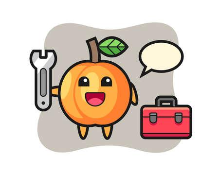 Mascot cartoon of apricot as a mechanic, cute style design for t shirt, sticker, logo element