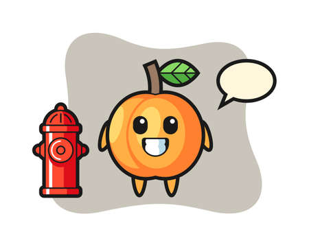 Mascot character of apricot as a firefighter, cute style design for t shirt, sticker, logo element