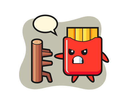 French fries cartoon illustration as a karate fighter, cute style design for t shirt, sticker, logo element 向量圖像