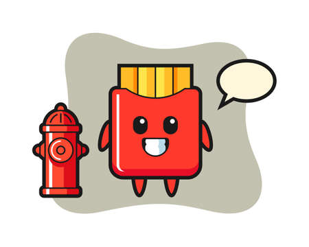 Mascot character of french fries as a firefighter, cute style design for t shirt, sticker, logo element 向量圖像