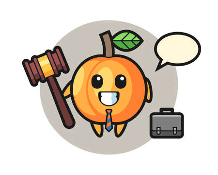Illustration of apricot mascot as a lawyer, cute style design for t shirt, sticker, logo element 向量圖像