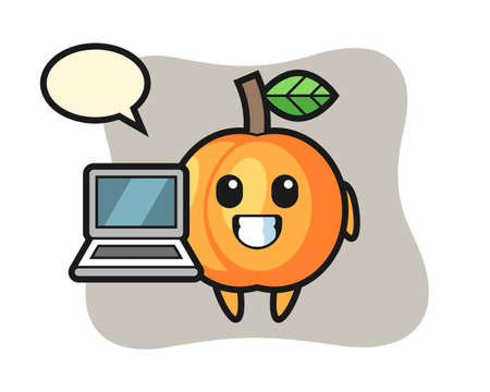 Mascot illustration of apricot as a hacker, cute style design for t shirt, sticker, logo element 向量圖像