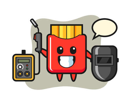Character mascot of french fries as a welder, cute style design for t shirt, sticker, logo element 向量圖像