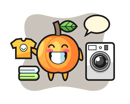 Mascot cartoon of apricot with washing machine, cute style design for t shirt, sticker, logo element