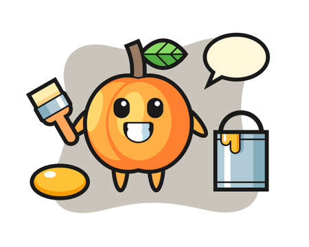 Character illustration of apricot as a painter, cute style design for t shirt, sticker, logo element