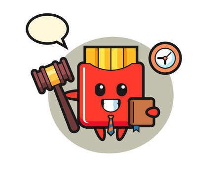 Mascot cartoon of french fries as a judge, cute style design for t shirt, sticker, logo element